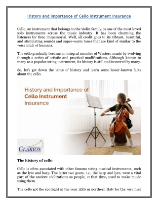 History and Importance of Cello Instrument Insurance