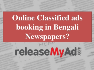 Classified Ads in Bengali Newspapers
