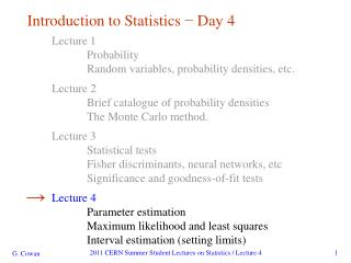 Introduction to Statistics  ?  Day 4