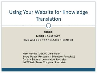 Using Your Website for Knowledge Translation