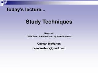 Today's lecture...