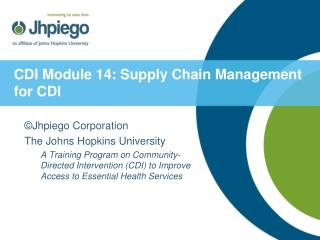 CDI Module 14: Supply Chain Management for CDI