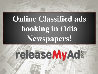 Classified Ads in Odia Newspapers