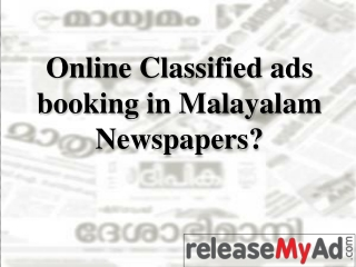 Classified Ads in Malayalam Newspapers