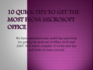 10 Quick Tips From Microsoft Office