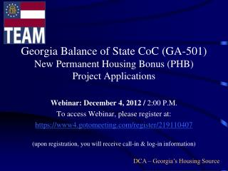 Georgia Balance of State CoC (GA-501) New Permanent Housing Bonus (PHB)  Project Applications