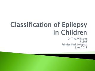 Classification of Epilepsy in Children