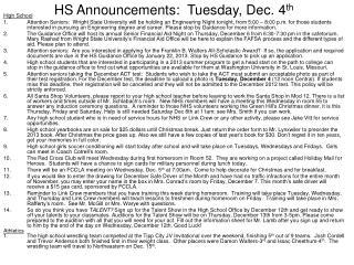 HS Announcements: Tuesday, Dec. 4 th