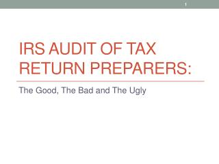 IRS Audit of Tax Return Preparers: