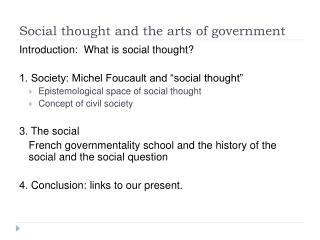 Social thought and the arts of government
