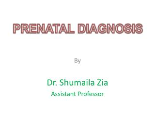 By Dr.  S humaila Zia Assistant Professor