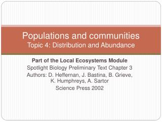 Populations  and communities Topic  4: Distribution and Abundance