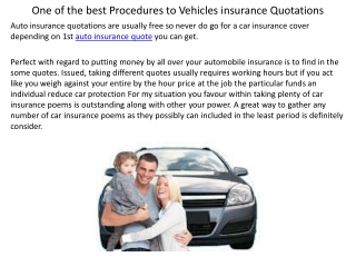 One of the best Procedures to Vehicles insurance