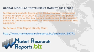 Global Modular Instrument Industry Trends2012-2016:MarketRes