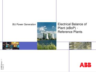 Electrical Balance of Plant eBoP - Reference Plants