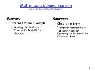 Multimedia Communication  Multimedia Systems(Module 5 Lesson 2)