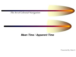Mean Time / Apparent Time