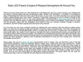Solar LED Pavers Creates A Pleasant Atmosphere All Around Yo
