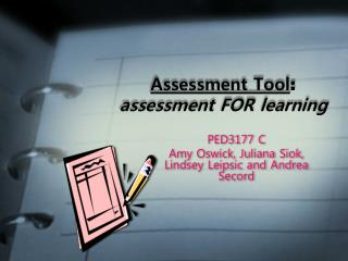 Assessment Tool :  assessment FOR learning