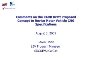 Comments on the CARB Draft Proposed Concept to Revise Motor Vehicle CNG Specifications
