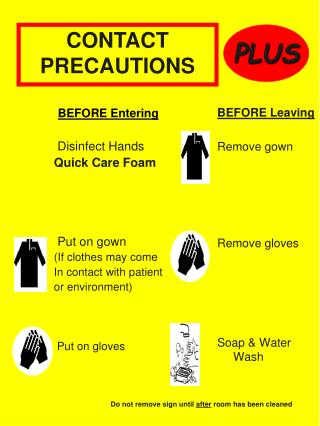BEFORE Entering   Disinfect Hands Quick Care Foam      Put on gown If clothes may come In contact with patient or enviro