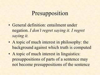 Presupposition