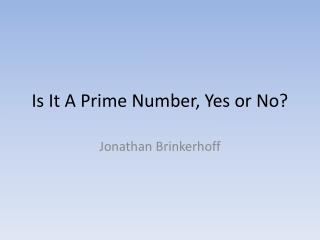 Is It A Prime Number, Yes or No?