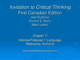 Invitation to Critical Thinking First Canadian Edition Joel Rudinow Vincent E. Barry Mark Letteri