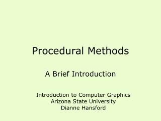 Procedural Methods