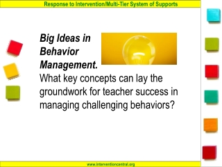 Behavior in the Classroom: A Product of…