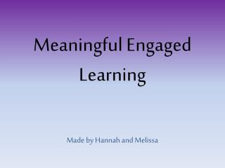 Meaningful Engaged Learning
