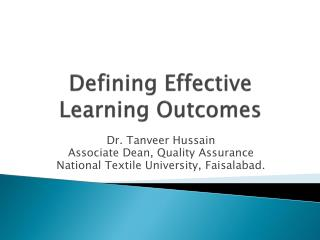 Defining Effective Learning Outcomes