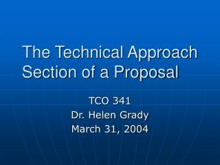 The Technical Approach Section of a Proposal