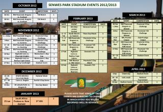 SENWES PARK STADIUM EVENTS 2012/2013