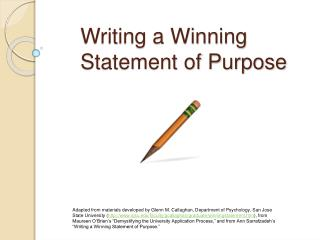 Writing a Winning  Statement of Purpose