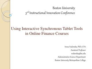 Using Interactive Synchronous Tablet Tools in Online Finance Courses