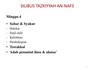 SILIBUS TAZKIYYAH AN-NAFS