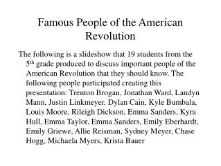Famous People of the American Revolution