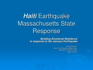 Haiti  Earthquake Massachusetts State Response