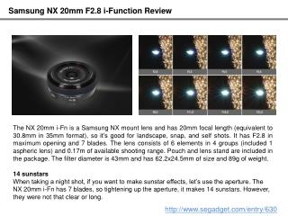 Samsung NX 20mm F2.8 I-Function Review