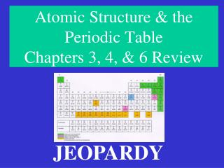Atomic Structure & the Periodic Table Chapters 3, 4, & 6 Review