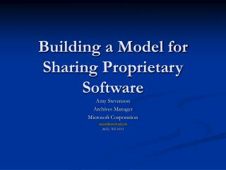 Building a Model for Sharing Proprietary Software