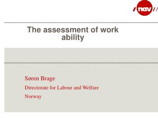 The assessment of work ability