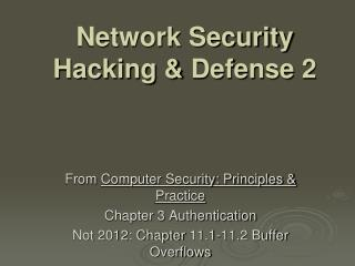 Network Security Hacking &  Defense  2