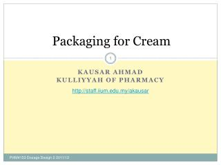 Packaging for Cream