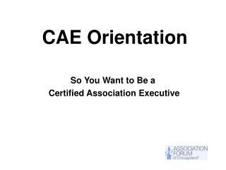 CAE Orientation