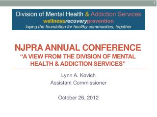 NJPRA annual conference  A view from the Division of Mental Health  Addiction Services