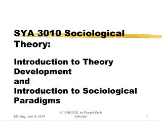 SYA 3010 Sociological Theory: Introduction to Theory Development and Introduction to Sociological Paradigms