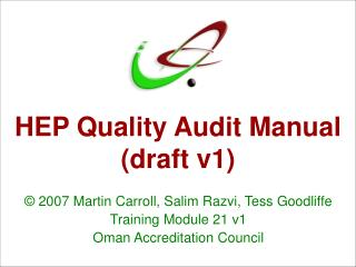 HEP Quality Audit Manual (draft v1)