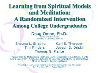 Learning from Spiritual Models and Meditation:  A Randomized Intervention  Among College Undergraduates